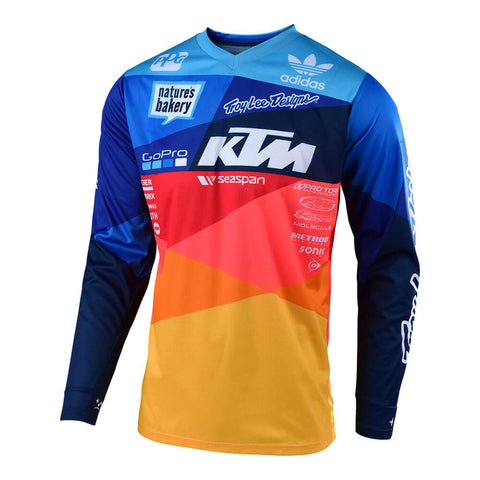 Blue Yellow and Red Long Sleeve MTB Jersey