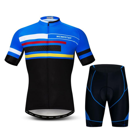 Blue/Black Argus Men's Short Sleeve Cycling Jersey Set