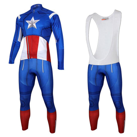 Captain America Long Sleeve Cycling Kit