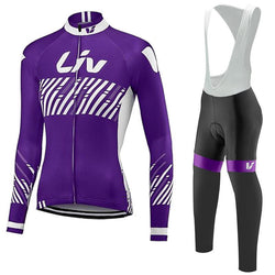 Purple/White LIV Women's Long Sleeve Cycling Jersey Set