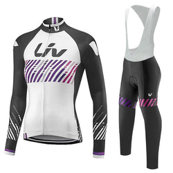 Black/White LIV Women's Long Sleeve Cycling Jersey Set