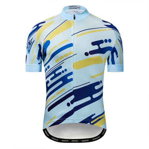 Blue and Yellow Line White Jersey