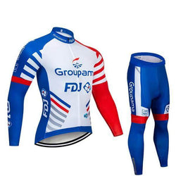 2019 Groupama FDJ Blue Men's Team Cycling Long Sleeve Jersey Set