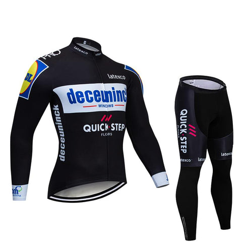 2019 Quick Step Black Men's Team Cycling Long Sleeve Jersey Set