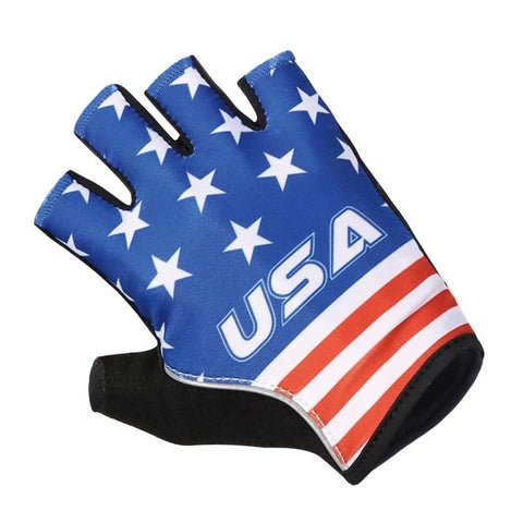 USA blue half finger cycling gloves