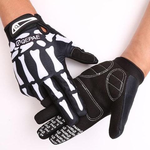 Skull Full Finger Bicycle Gloves