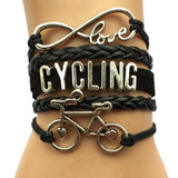 Charm Leather Wrap Bicycle Bracelet