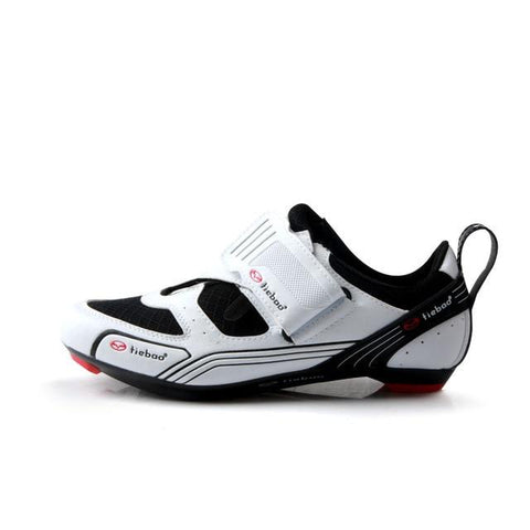 white/Black Triathlon Cycling Shoes