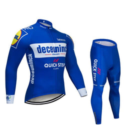 2019 Quick Step Blue Men's Team Cycling Long Sleeve Jersey Set