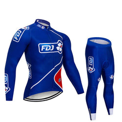 2019 FDJ Men's Team Cycling Long Sleeve Jersey Set