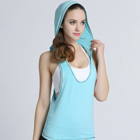 Sleeveless Women's Tank Top with hood
