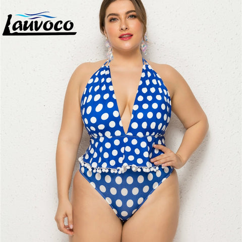 Plus Size One Piece Bathing Suit Dotted High Cut Lace Up Swimsuit
