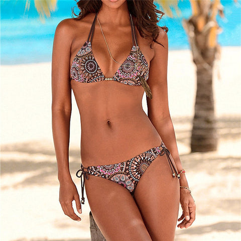 Women's Floral Print Two Piece Bikini Swimsuit