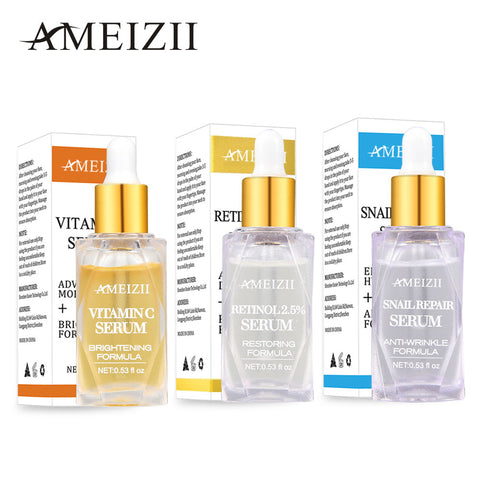 AMEIZII Retinol 2.5%, Vitamin C Moisturizing Hyaluronic Acid and Snail Repair Serums
