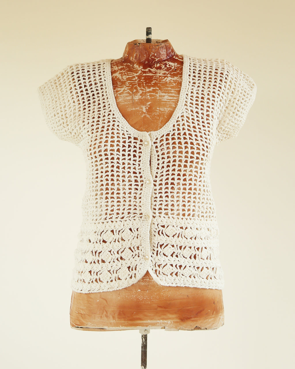 Crochet Pearl Button-Up