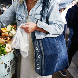 Life Wild | Wild Shop Sustainable Reusables Shopping Kit - Upcycled Denim Shopper Tote