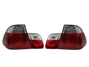 BMW E46 Taillights w/ Early Inners - Clear/Red/Red LED (4-Door, 1998-2001)