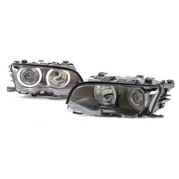 BMW E46 Black Projector Headlights with LED Angel Eyes (2-Door, 1999-2001)