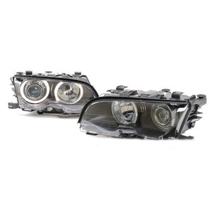 BMW E46 Black Projector Headlights with Incandescent Angel Eyes (2-Door, 1999-2001)