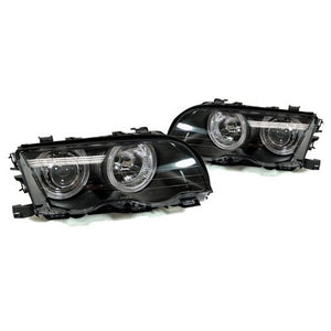 BMW E46 Black Projector Headlights with LED Angel Eye (2-Door, 2002-2003)