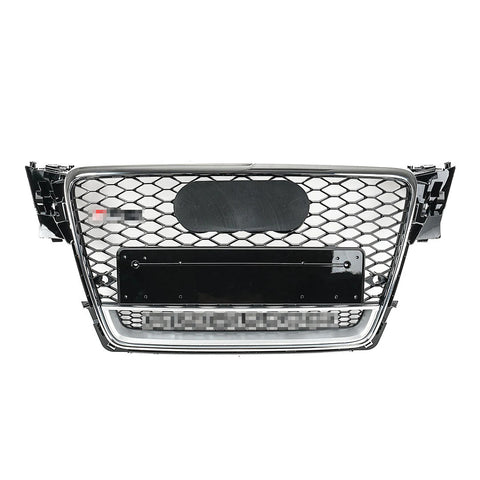 RS Style Grille for B8 A4/S4 (Pre-Facelift) - Black w/ Crhome Surround & Silver Quattro