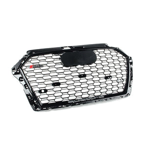 RS style Grille For 8V Facelift A3/S3 - Black w/ Black Surround and Silver Quattro