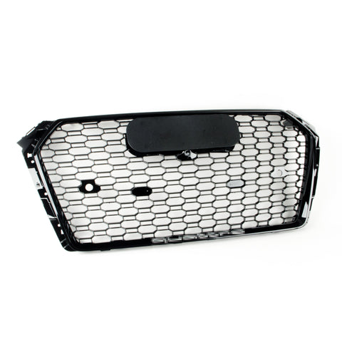 RS Style Grille for Audi B9 A4/S4 PFL (2017-2019) - Black Optic w/ Silver Quattro