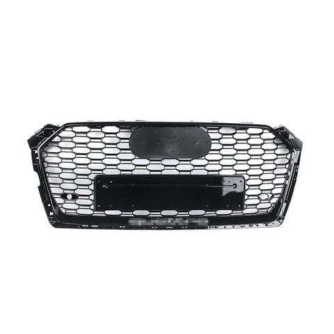 RS Style Grille - 8W A5/S5/RS5 Pre-Facelift - Black With Black Frame - Silver Quattro