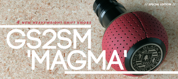 BFI Heavy Weight Shift Knob SCHWARZ - Magma Red Air Leather (BMW Fitment)