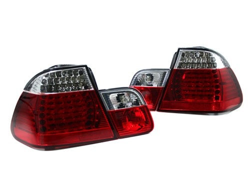 BMW E46 Taillights w/ Early Inners - Clear/Red/Red LED (4-Door, 2002-2005)