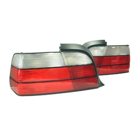 BMW E36 2-Door Taillights (Clear/Red Faceted)