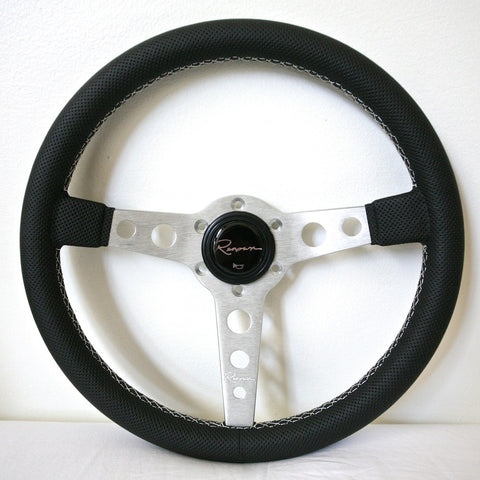 Renown Monaco Steering Wheel - Silver w/ White Stitching