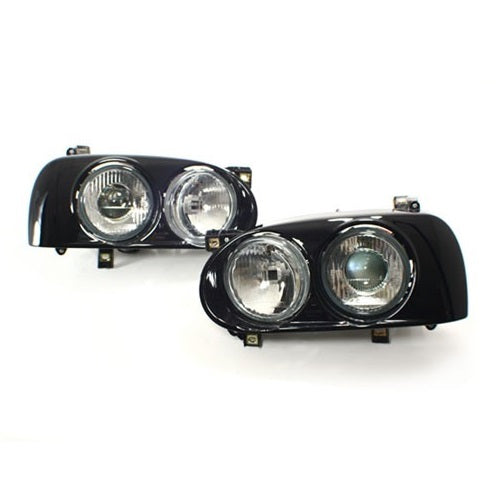 Mk3 Golf Dual Round Projector Headlights  Black Surround