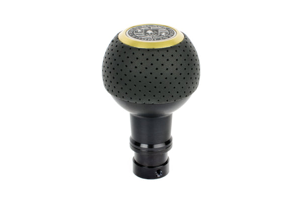 BFI Heavy Weight Shift Knob SCHWARZ - Air Leather - Gold Top (981 / 991+ Porsche Fitment)