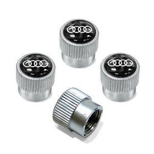 Audi Carbon Fiber Valve Stem Caps with Audi Rings Logo