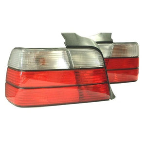BMW E36 4-Door Taillights (Red/Clear Faceted)