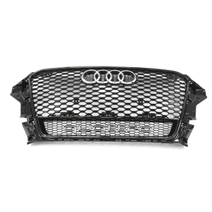 OEM Audi RS3 Grille for 8V A3/S3 (Pre-Facelift) - Black with Black Surround + Quattro