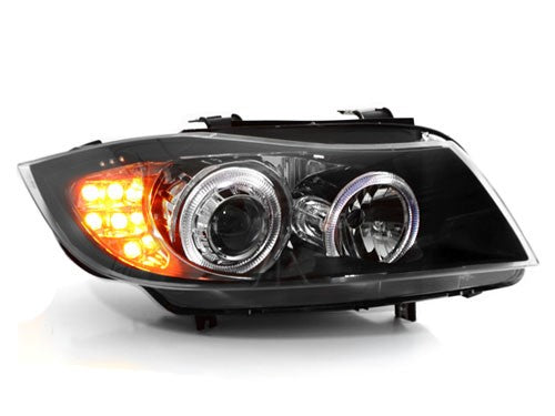 E90 2006-2008 LED Angel Eye Black Projector Headlights w/ LED Signal
