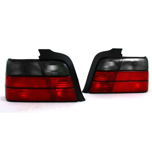 BMW E36 4-Door Taillights (Red/Smoke Faceted)