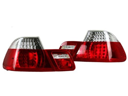 BMW 1999-2003 E46 2-Door Taillights - Clear/Red LED
