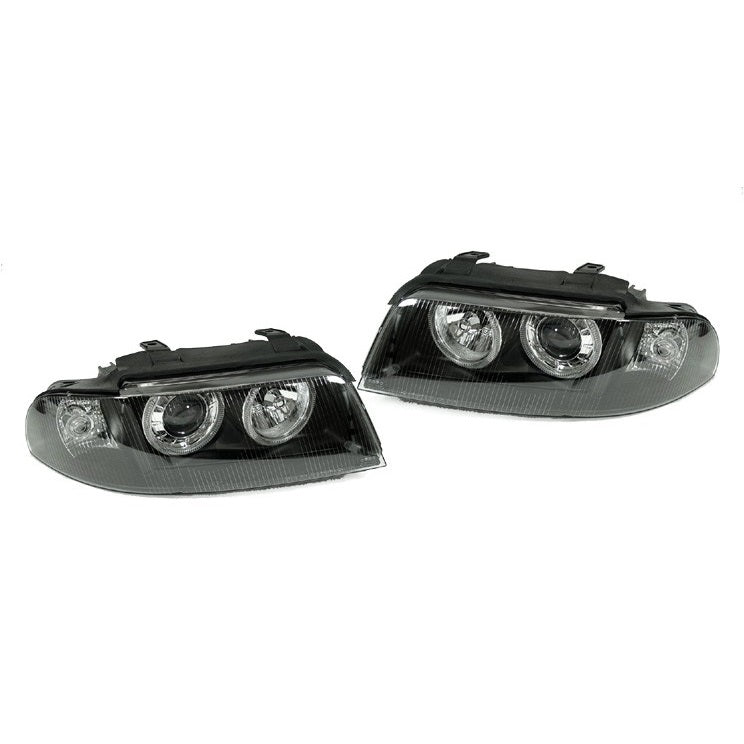 Audi B5 A4/S4 1-Piece Angel Eye Projector Headlights (Black - D2S)