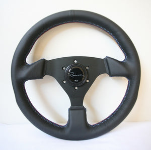 Renown Clubsport Motorsport Steering Wheel - Tricolor Stitching