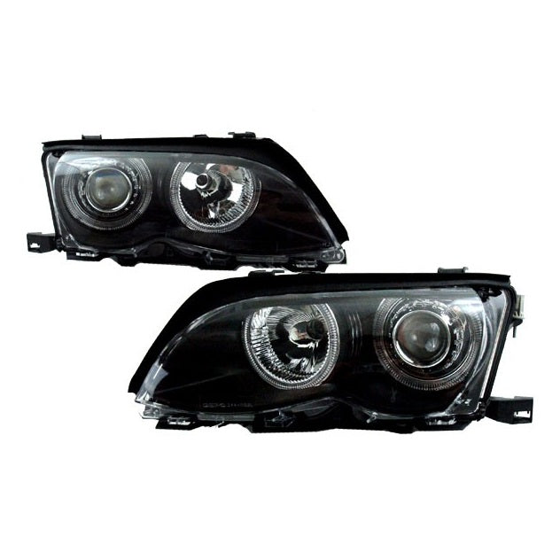 BMW E46 Black Projector Headlights with Incandescent Angel Eyes (4-Door, 2002-2005)