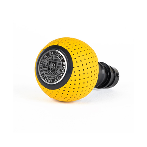 BFI Heavy Weight Shift Knob - Giallo Taurus Yellow Perforated Leather - Schwarz