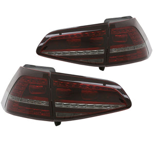 VW Golf 7 LED Taillights and Wire Kit - Black R Version w/ Sequential Signal (Includes Harness)