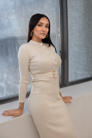 Apricot Sweater Dress