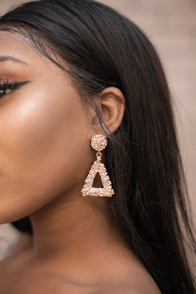 Gold Triangle  Earrings - Boutique by JessyJess