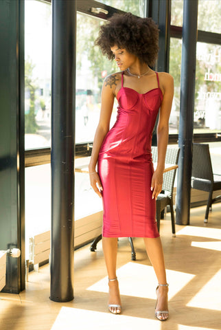 Satin Red Dress - Boutique by JessyJess