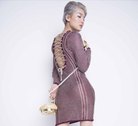 Metallic Wine Dress - Boutique by JessyJess