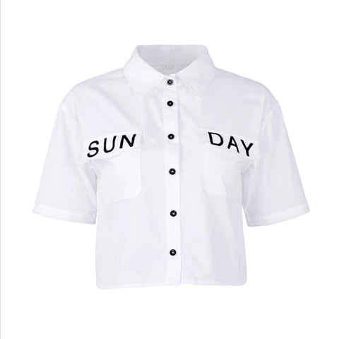 Sun-Day Crop Shirt - Boutique by JessyJess